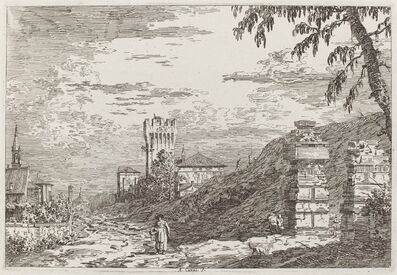 Canaletto, 'Landscape with Tower and Two Ruined Pillars [left]', ca. 1735/1746