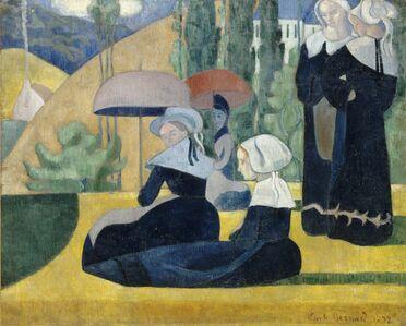 Émile Bernard, 'Breton Women with Umbrellas', 1892