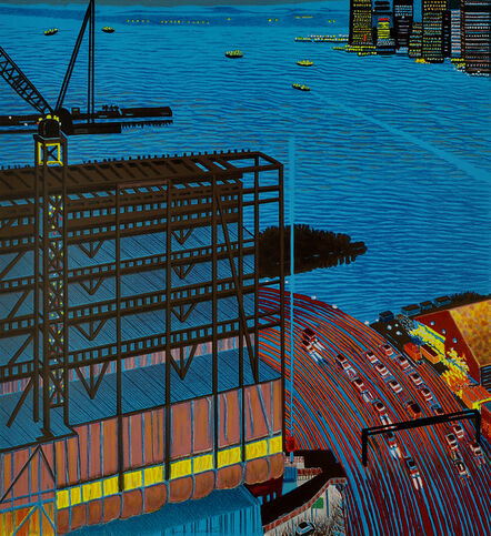 Yvonne Jacquette, 'Whitney Construction at Dusk', 2015
