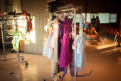Lindsay Morris, 'Outfits and accessories are hung in preparation for the fashion show', 2013