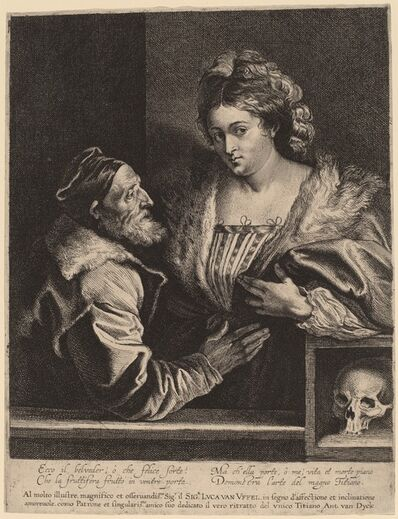 Sir Anthony van Dyck and Attributed to Lucas Emil Vorsterman after Titian, 'Titian and His Mistress', probably 1630