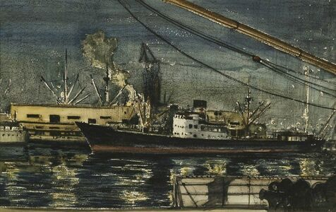 Claude Muncaster, 'NIGHT STUDY: GENOA DOCKS'