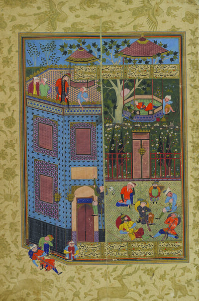 'Zal Visits Rudaba in Her Castle, folio 38a from the Peck Shahnama', 1589-1590