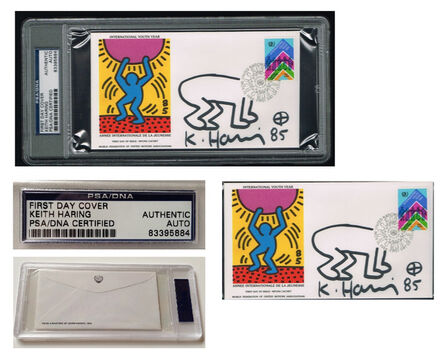 """Keith Haring, '""""International Youth Day-United Nations"""" WFUNA, 1985, SIGNED, United Nations Envelope w/ BABY DRAWING, First Day of Issue World Federation of United Nations Association, Authenticated, UNIQUE', 1985"""