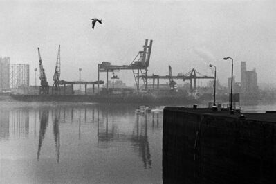 Mike Seaborne (British, born 1954), 'Greenwich peninsula from the Blue Bridge, Manchester Road, London', 1985-printed 2020