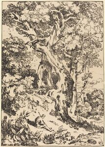 William Havell, 'Study of Trees and Shrubs with Seated Figure', 1804
