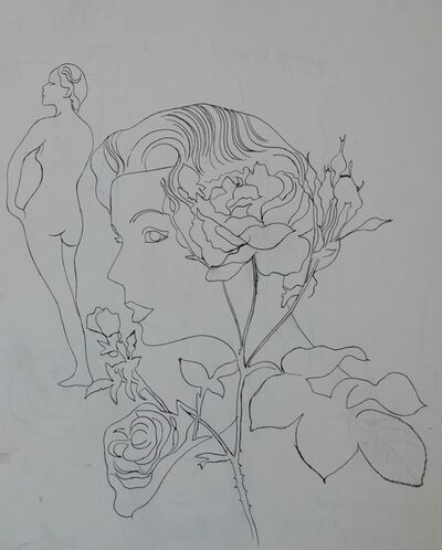 Andy Warhol, 'Untitled (Woman with Flowers)', ca. 1956