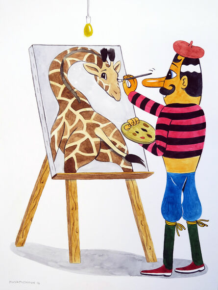 HuskMitNavn, 'A Giraffe in the Studio', 2016