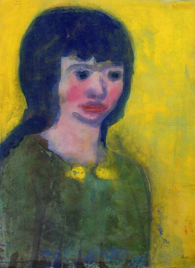 Emil Nolde, 'Portrait of a Young Woman with Dark Hair', ca. 1935