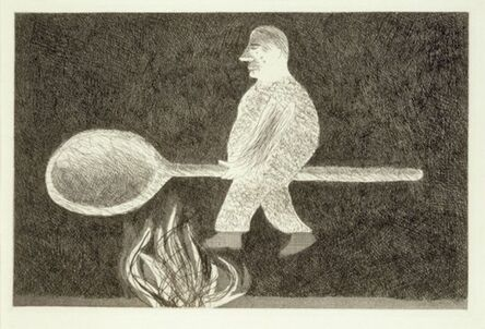 David Hockney, 'Riding around on a Cooking Spoon from Illustrations for Six Fairy Tales from the Brothers Grimm', 1969