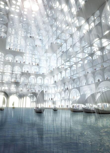 Sou Fujimoto Architects, 'Rendering, Souk Mirage / Particles of Light commercial building complex, concept master plan', 2013