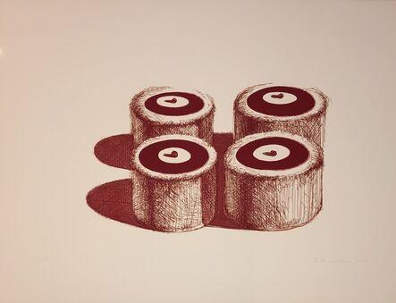 Wayne Thiebaud, 'Cherry Cakes (Recent Etchings II)', 1979
