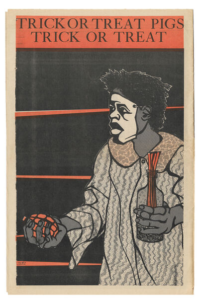 """Emory Douglas, ' """"Trick or treat pigs, trick or treat""""', 1970"""