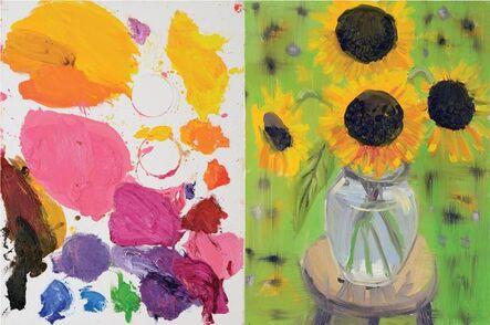 Ann Craven, 'Diptych (Palette, Sunflower, Pink Brown Eyed Susan, Green Garden, 9-4-14–9-9-15), 2015', 2015
