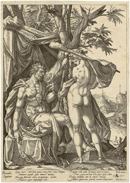 ANTONIUS EISENHOIT, 'Hercules and Omphale. After B. Spranger', 1590