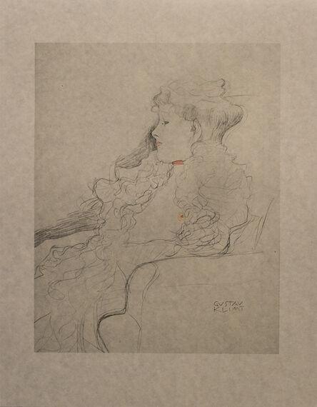 Gustav Klimt, 'Portrait Sketch: Lady with Ruff (Red and White Tinted) - Niyoda Paper', 1919