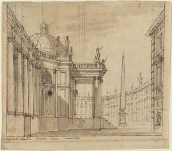 Giuseppino Galliari, 'Stage Design: A Piazza with a Domed Church and an Obelisk', 1783