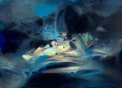 Chu Teh-Chun, 'Abstraction bleue et jaune', 1989