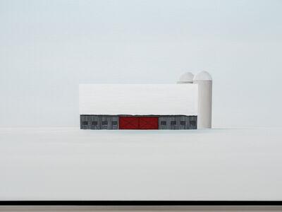 F. Lipari, 'Outlying - minimalist, serene, white, snowy, realist barn scene, acrylic canvas', 2020