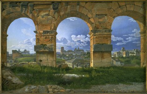 Christoffer Wilhelm Eckersberg, 'A View through Three of the North-Western Arches of the Third Storey of the Coliseum in Rome', 1815