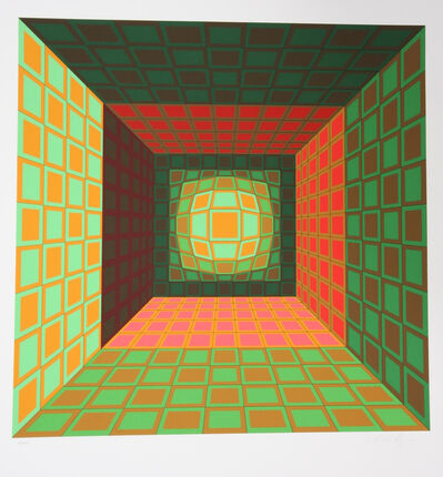Victor Vasarely, 'Green and Orange Composition', 1980