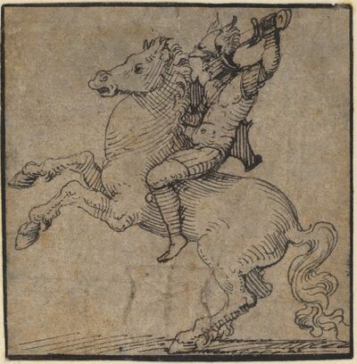 Workshop of Peter Vischer the Younger, 'Warrior in Renaissance Armor on a Rearing Horse', ca. 1530/1540