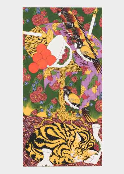 Iman Raad, 'Untitled (Sleeping Striped Cat and Golden-Backed Woodpecker)', 2018