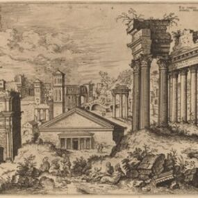 Hieronymus Cock, 'View of the Forum from the Base of the Capitol', probably 1550