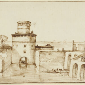 Guercino, 'Landscape with a View of a Fortified Port', 1635