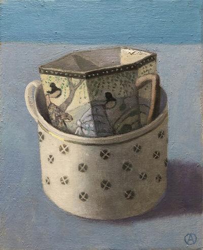 Olga Antonova, '2 Staked Cups on Blue', 2020