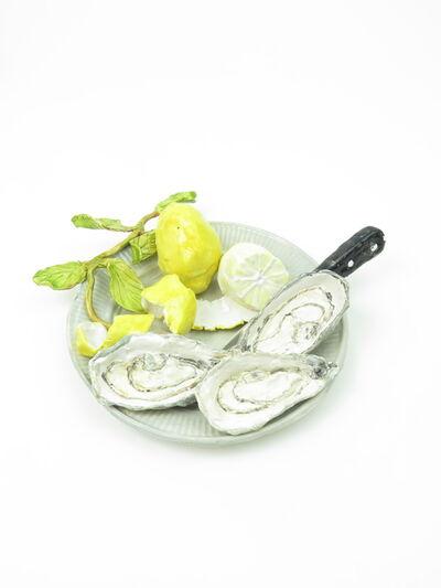 Rose Eken, 'Plate with Oysters, Oysterknife, Lemons and Leaf', 2017