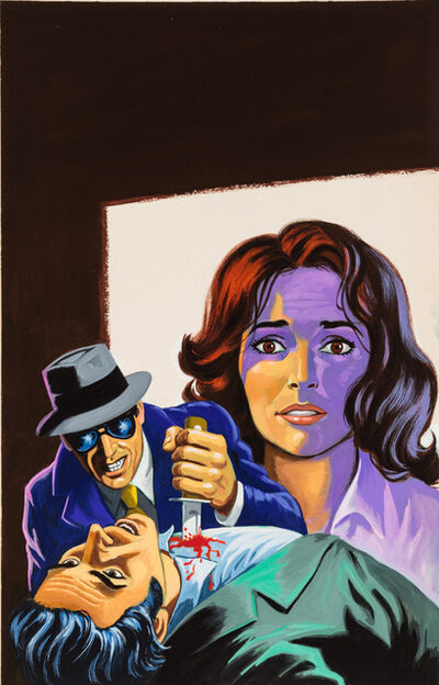 'Untitled (Man in sunglasses stabbing man in green suit while woman looks on)', c. 1960-75