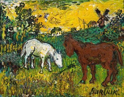 David Burliuk, 'Untitled (Red and White Horses in Landscape)', 1950