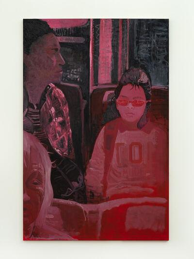 Valentina Liernur, 'Niña y señora en colectivo (rojo)', 2021