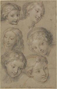 Michel Corneille, 'Studies of Women's Heads', 1680s or 1690s