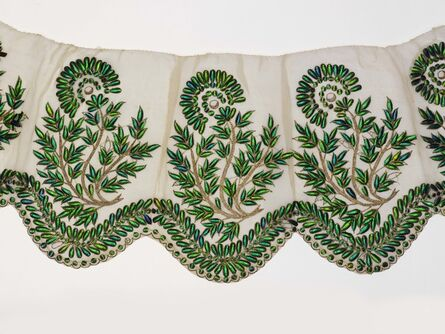 Unknown Artist, 'Muslin Border Embroidered with Beetle Wings', 19th century
