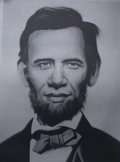 Ron English, 'Obama Lincoln Grey', 2008