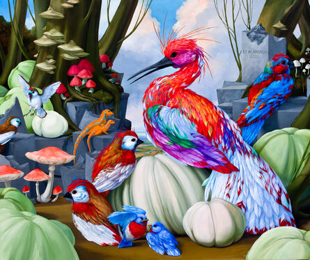 Laurie Hogin, 'Arcadian Habitat Diorama with Narcissus Glitter Fowl', 2014