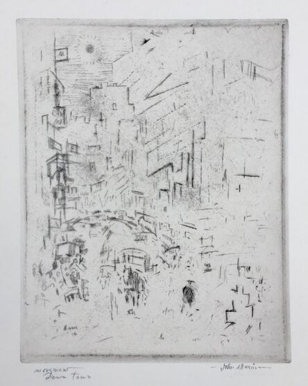 John Marin (1870-1953), 'Movement Downtown (NY) - Only Known Impession', 1914