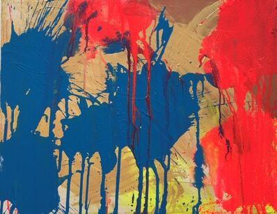 Ushio Shinohara 篠原 有司男, 'Red and Blue on Gold', 2018