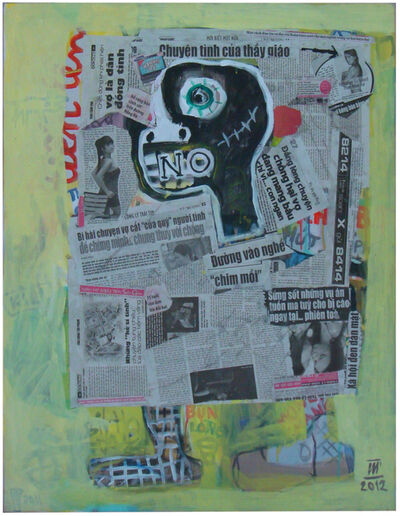 Nguyen Cong Cu, ''Reading Newspaper II' Mixed Media, Abstract Portrait', 2012