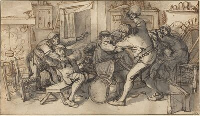 Adriaen van Ostade and Cornelis Dusart, 'Peasants Fighting in a Tavern', ca. 1640 (with additions after 1685 by Dusart)