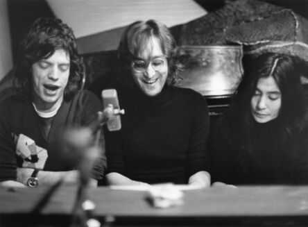 Bob Gruen, '(L-R) Mick Jagger of The Rolling Stones, John Lennon and Yoko Ono singing at a piano at The Record Plant, NYC.', 1972