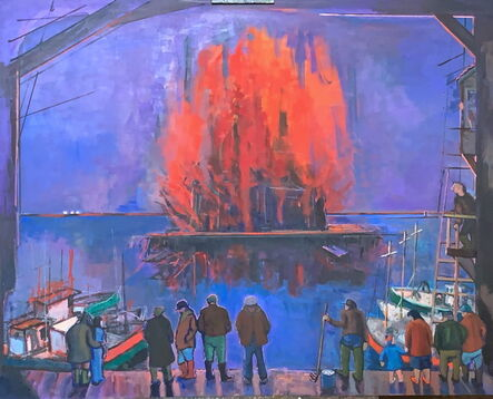 Salvatore Del Deo, 'Fire at Skarloffs Wharf', 2011