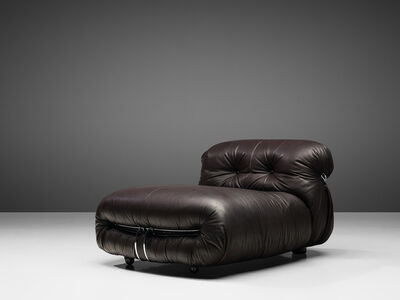 Tobia Scarpa, ''Soriana' Chaise Longue Chair in Dark Brown Leather', 1969