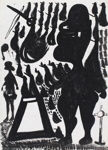 """Carlo Zinelli, 'Grande alpino e """"ucceli"""" neri (double sided)', 1966-1968"""