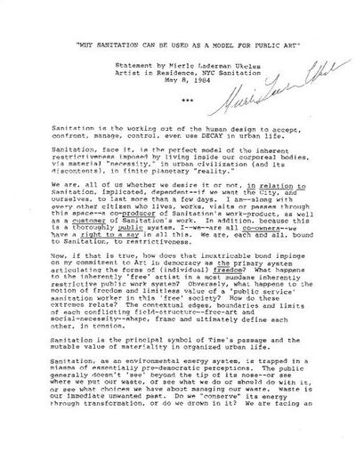 Mierle Laderman Ukeles, 'Sanitation Manifesto', 1984