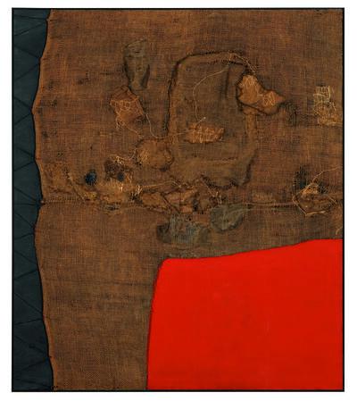 Alberto Burri, 'Sacco e rosso (Sack and Red)', ca. 1959