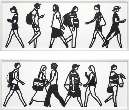 Julian Opie, 'Walking in Melbourne 3; and Walking in Melbourne 6, from Walking in Melbourne series', 2018