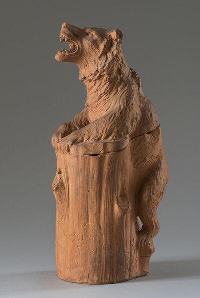 John Lockwood Kipling, 'Tobacco jar in the form of a bear holding a tree stump', 1896